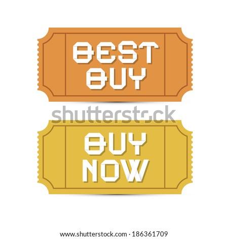 Best Buy, Buy Now Vector Tickets Illustration  - stock vector