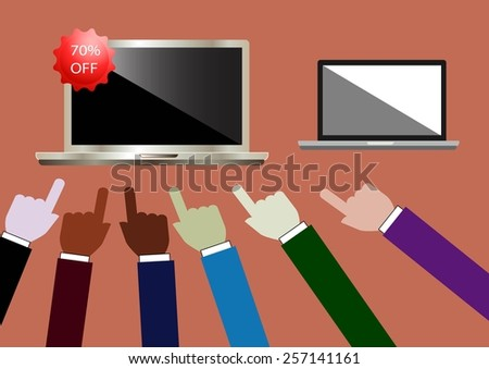 Best Buy On Laptop Showing Excellent Sale Or Premium Product - stock vector