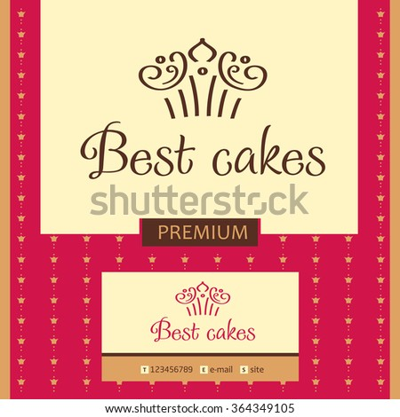 Best cakes. Template vector logo with crown. Design elements for coffee shop, confectionery, bakery. A cake in the shape of a crown. - stock vector