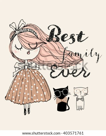 best cartoon girl illustration with her cats - stock vector