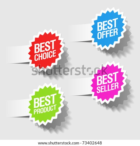 Best choice, best offer, best product and best seller tags. Vector. - stock vector