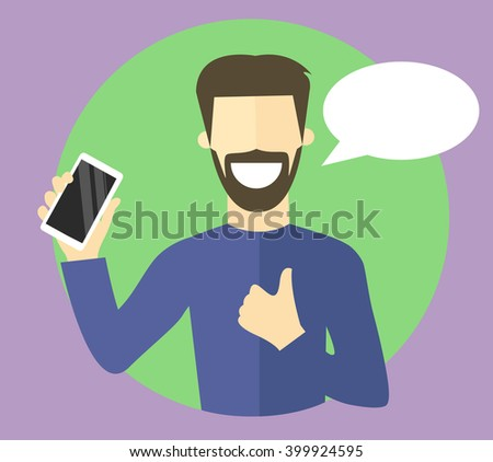 Best choice concept illustration. Sure character. Confident, satisfied young man. Flat vector sign. Choosing smartphone conception. Mobile phone selection. - stock vector