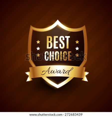 best choice golden award label badge design - stock vector