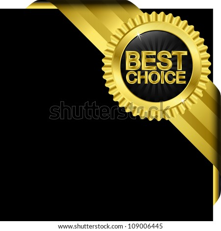 Best choice golden label with ribbons, vector - stock vector