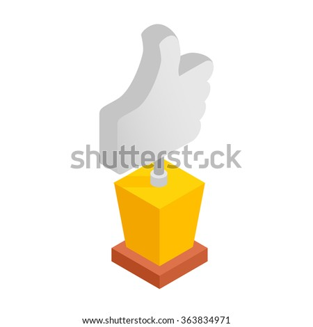 Best choice isometric 3d icon on a white background. Thumbs up symbol - stock vector