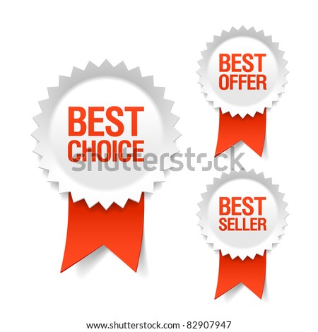 Best choice, offer and seller labels with ribbon. Vector. - stock vector