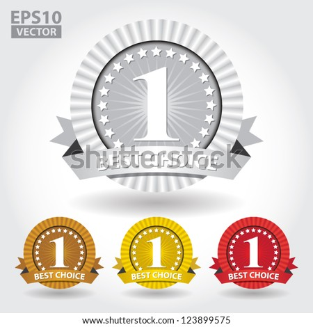 Best Choice Ribbon Sticker and Sign with number one and stars - EPS10 Vector - stock vector