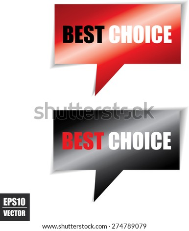 Best choice speech bubbles square template | business banner with symbol icon. Vector. - stock vector