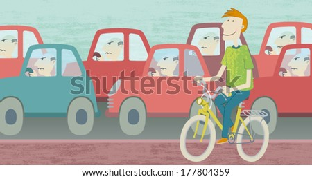 Best cycling. Illustration of a happy young man walking bike, while on the road, there is a big bottleneck cars. EPS10 Illustration.