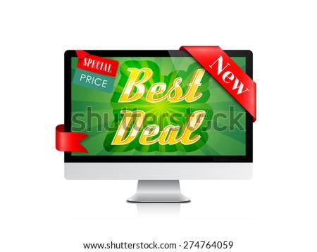 Best Deal Banner. Computer Display Offer. Vector Design - stock vector