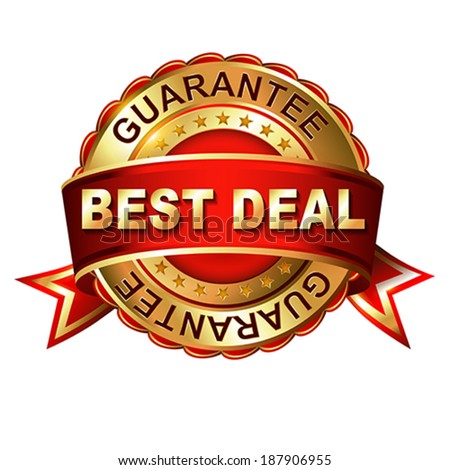 Best deal guarantee golden label with ribbon.  Vector illustration.