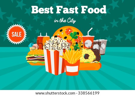 Best Fast Food in the City. Advertising design. Flat vector illustration. - stock vector