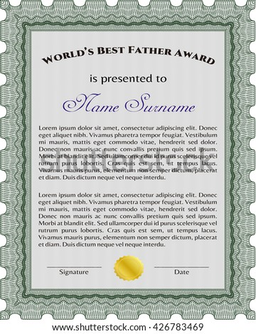 Best Father Award Template. Elegant design. With guilloche pattern and background. Vector illustration.
