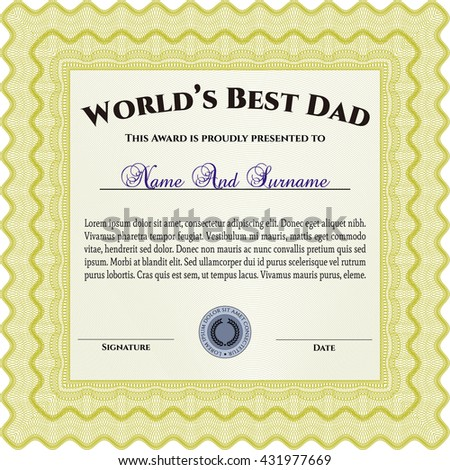 Best Father Award Template. Vector illustration. With guilloche pattern. Elegant design.