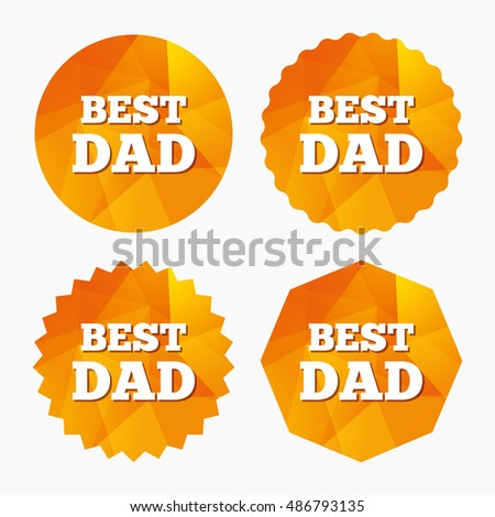 Best father sign icon. Award symbol. Triangular low poly buttons with flat icon. Vector