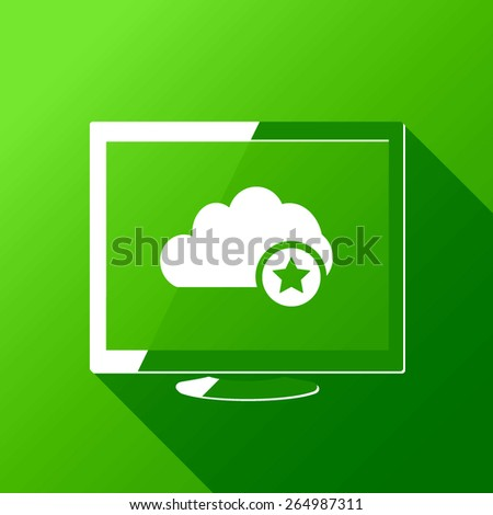 Best Favorite Cloud Computing. Desktop. Flat style design with long shadow - stock vector