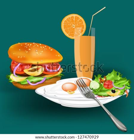 Best food for gourmet.Fast food.Vector - stock vector