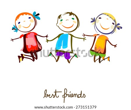 best friends - stock vector