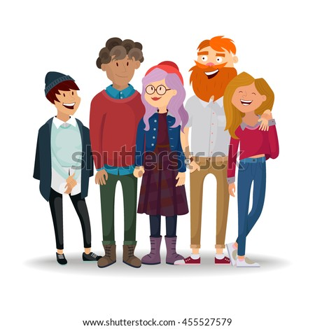 best friends. fashion stylish group of people. vector - stock vector