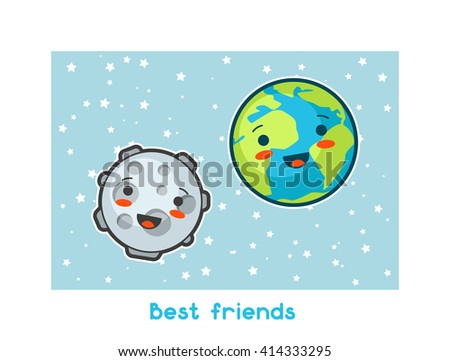 Best friends. Kawaii space funny card. Doodles with pretty facial expression. Illustration of cartoon earth and moon. - stock vector