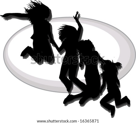best friends silhouette with shadow against oval background vector illustration