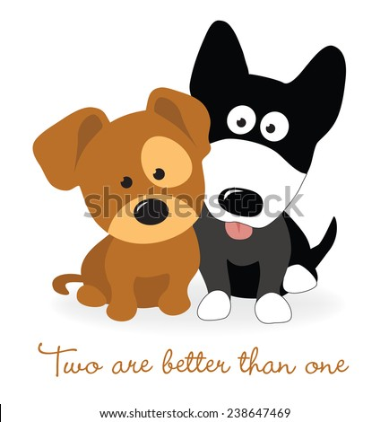 Best friends - two puppies - stock vector