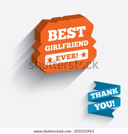 Best girlfriend ever sign icon. Award symbol. Exclamation mark. White icon on orange 3D piece of wall. Carved in stone with long flat shadow. Vector