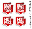 Best hot offers speech bubbles set. - stock vector