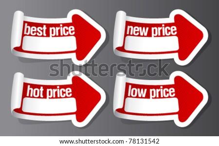 Best hot price stickers in form of arrow. - stock vector