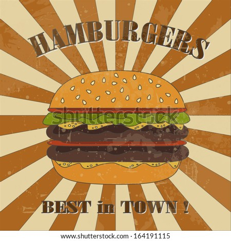 Best in town hamburgers retro colorful poster for fast food restaurant