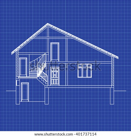 Best interesting architectural background on graph stock vector best interesting architectural background on graph paper incision house vector blueprint malvernweather Images