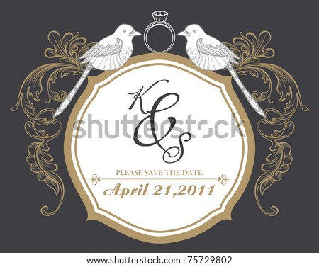best invitation card design with ring - stock vector