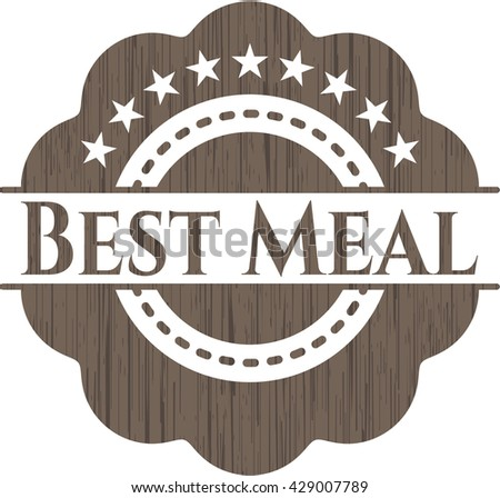 Best Meal badge with wooden background