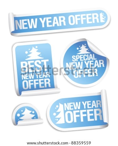 Best New Year offer stickers set. - stock vector