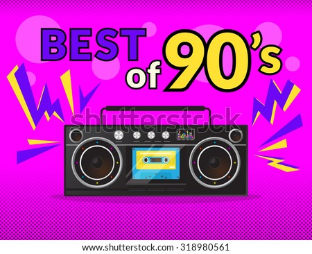 Best of 90s illistration with realistic tape recorder on pink background