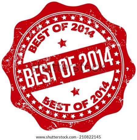 best of 2014 stamp - stock vector