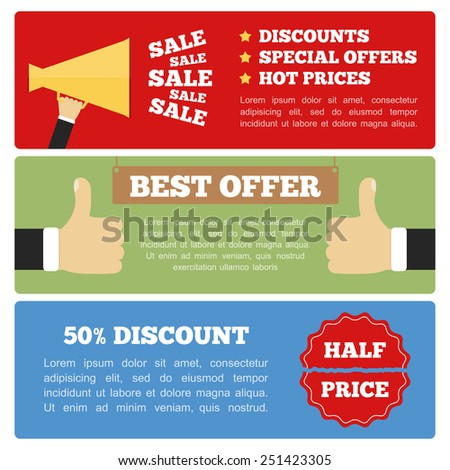Best offer, half price and sale banners, flat design, vector eps10 illustration  - stock vector