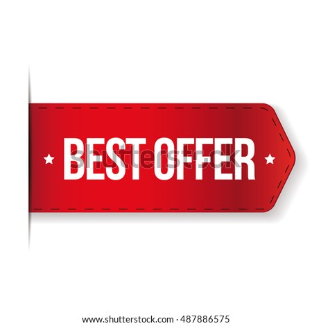 Best Offer red ribbon vector