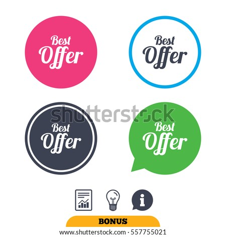 Best offer sign icon. Sale symbol. Report document, information sign and light bulb icons. Vector