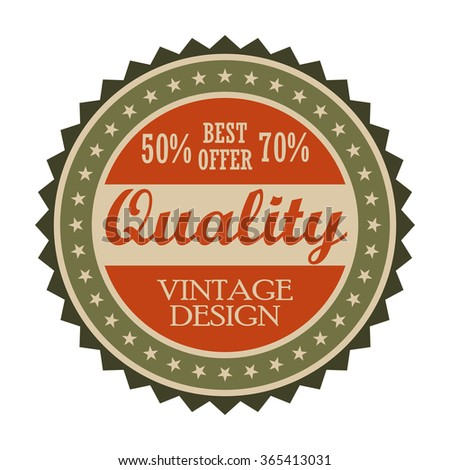 Best offer vintage tag. Round retro label isolated on a white background - stock vector