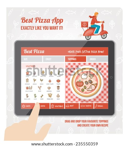 Best pizza app interface design with ingredient and icons on tablet display - stock vector