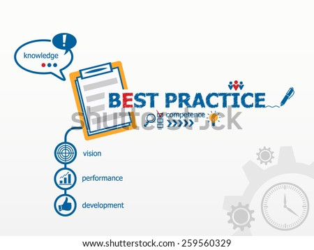 Best practice concept and notebook for efficiency, creativity, intelligence. Hand writing Best practice with blue marker - stock vector
