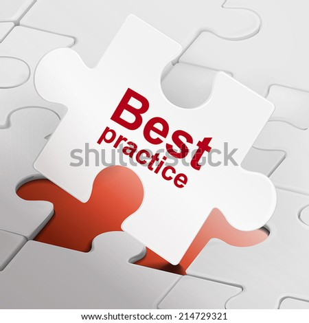 best practice on white puzzle pieces background - stock vector