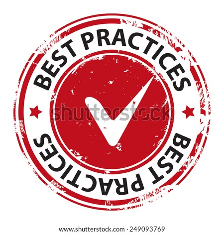 Best practice with tick symbol rubber stamp icon isolated on white background. Vector illustration - stock vector