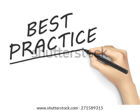 best practice words written by hand on white background - stock vector