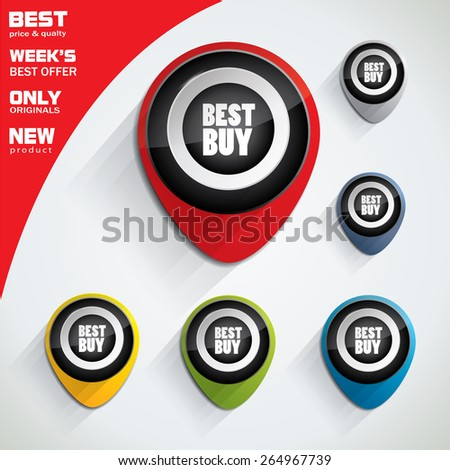 Best price, best buy colorful bubble or tag set with oval shape and promotional text in center  - stock vector