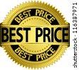 Best price golden label, vector illustration - stock vector