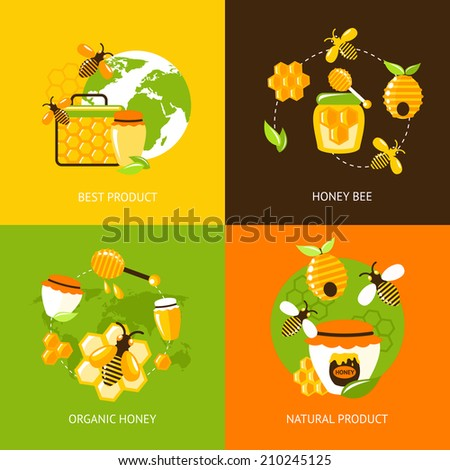 Best product organic natural honey bee icons set isolated vector illustration - stock vector