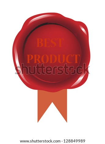 Best product red seal wax with ribbon vector - stock vector