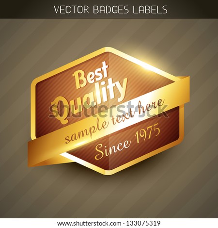 best quality golden label design - stock vector